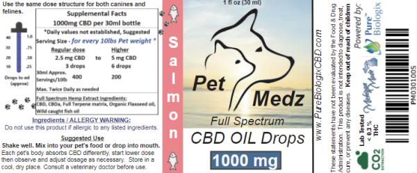 Pure Biologix Pet Medz 1000mgSalmon Flavor Tincture Label